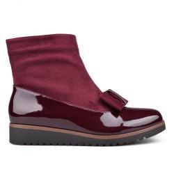 bordó elegantní lakovaná kombinovaná kotníková obuv s mašlí TENDENZ