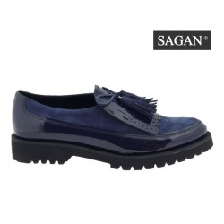 tmavě modré kožené lakované mokasíny SAGAN