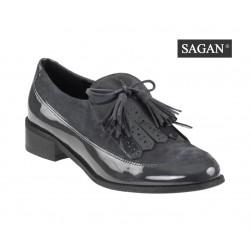 šedé kožené lakované mokasíny SAGAN 2892