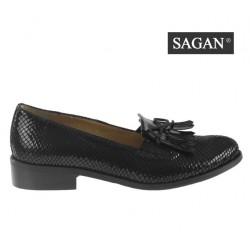černé kožené lakované mokasíny s hadím vzorem SAGAN 2790