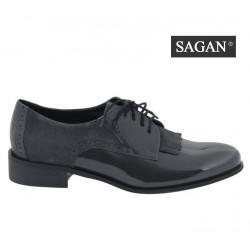 šedé kožené lakované šněrovací polobotky SAGAN 2993