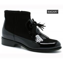 67c8b2a2425 černá kožená lakovaná kotníková obuv SAGAN 2925