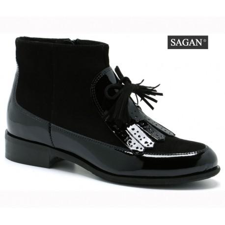 černá kožená lakovaná kotníková obuv SAGAN 2925