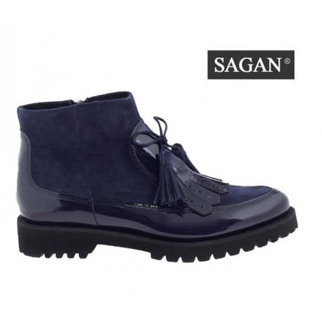 tmavě modrá kožená lakovaná kotníková obuv SAGAN 3007