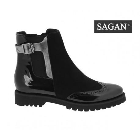 černá kožená kombinovaná kotníková obuv SAGAN 3111