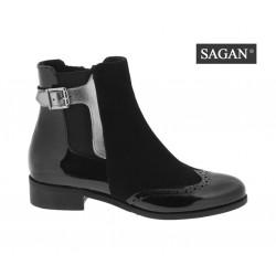 černá kožená kombinovaná kotníková obuv SAGAN 3019