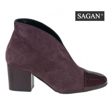 bordó vínová kožená kombinovaná kotníková obuv na podpatku SAGAN 3104
