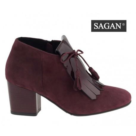 bordó vínová kožená kombinovaná kotníková obuv na podpatku SAGAN 3103