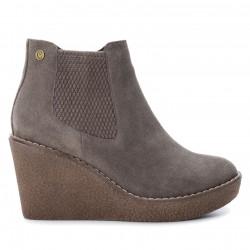 khaki kožená kotníková obuv na klínu CARMELA 65780