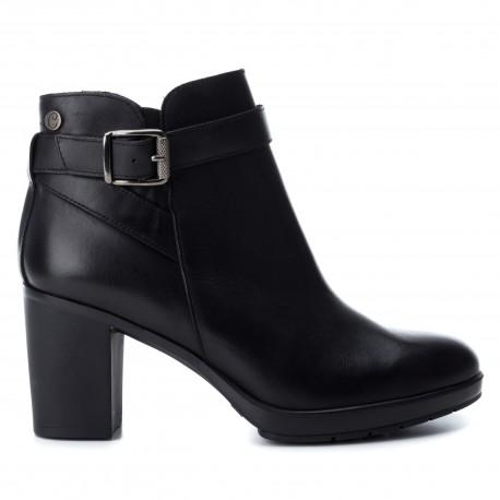 černá kožená kotníková obuv na podpatku CARMELA 65839