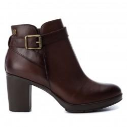 tmavě hnědá kožená kotníková obuv na podpatku CARMELA 65839