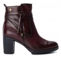 bordó vínová kožená kotníková obuv na podpatku CARMELA 65845