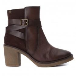hnědá kožená kotníková obuv na podpatku CARMELA 65828