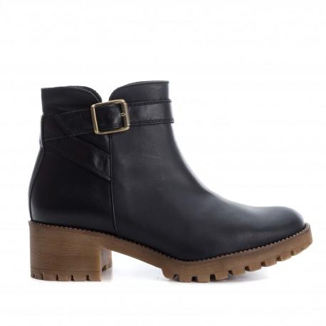 černá kožená kotníková obuv na podpatku CARMELA 65853
