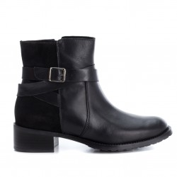 černá kožená kotníková obuv na podpatku CARMELA 65831