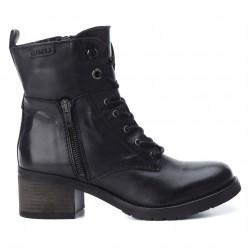černé kožené sněrovací polokozačky vojenské boty CARMELA 65916