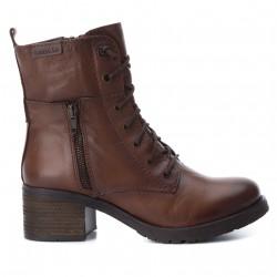 hnědé kožené sněrovací polokozačky vojenské boty CARMELA 65916
