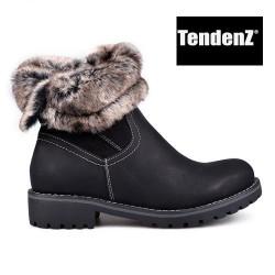 černé polokozačky s ohrnem kožíškem TENDENZ VSW17-015