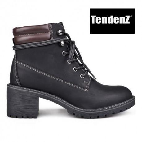 černé farmářky workery na podpatku TENDENZ VSW17-032