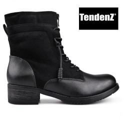 černé polokozačky s pseudo šněrováním TENDENZ VSW17-016