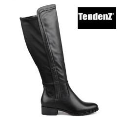 černé kozačky s pružnou textilní částí TENDENZ REW17-029