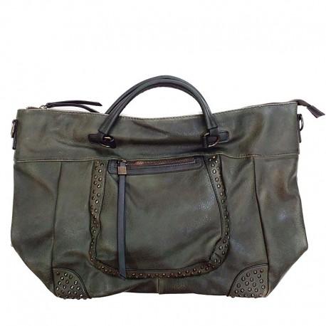 zelená kabelka zdobena cvoky  Chic & Pretty CP0811