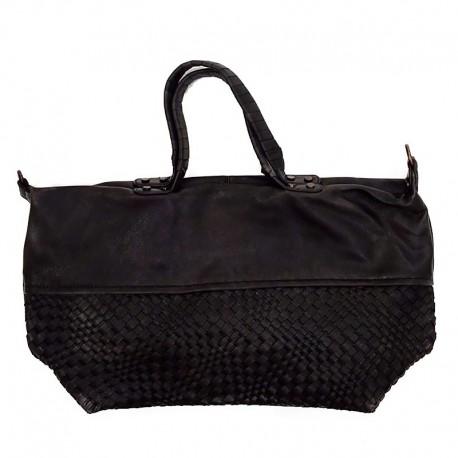 černá prostorná kabelka s proplétaným vzorem Chic & Pretty CP0809