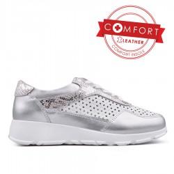 bílo stříbrné kožené dírkované tenisky na platformě TENDENZ NTS18-014