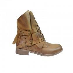 hnědé kožené jarní italské polokozačky Bouu shoes 622