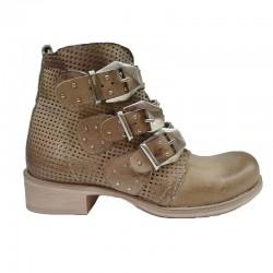 světle hnědá kožená jarní italská kotníková obuv 4004