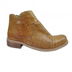 světle hnědá kožená jarní italská kotníková obuv Via Passo Avanti 629