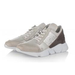 bílo-šedé kožené tenisky na platformě INDIGO Shoes 1656