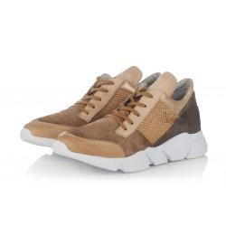 béžové kožené tenisky na platformě INDIGO Shoes 1656