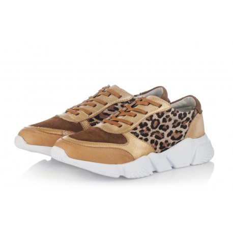 béžové kožené tenisky na platformě INDIGO Shoes 1564