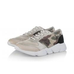 bílo-šedé kožené tenisky s maskáčovým vzorem na platformě INDIGO Shoes 1564