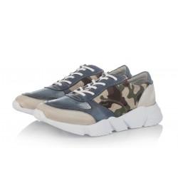 modré kožené tenisky s maskáčovým vzorem na platformě INDIGO Shoes 1564