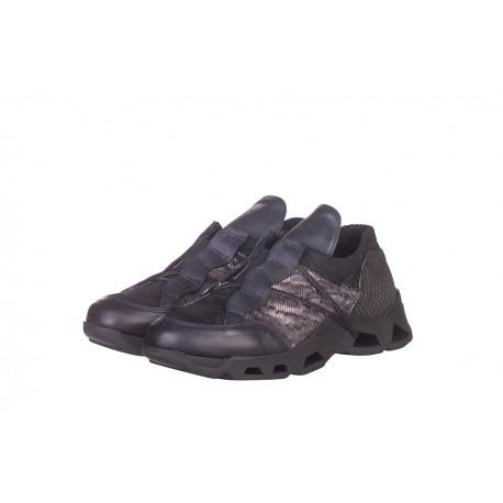 černé kožené tenisky na platformě INDIGO Shoes 1650
