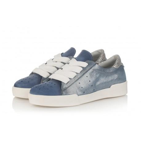 modré kožené tenisky na platformě INDIGO Shoes 1867