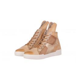 béžové kožené kotníkové tenisky na platformě INDIGO Shoes 1565