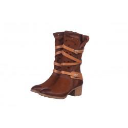 hnědé kožené jarní  polokozačky Indigo Shoes 1865