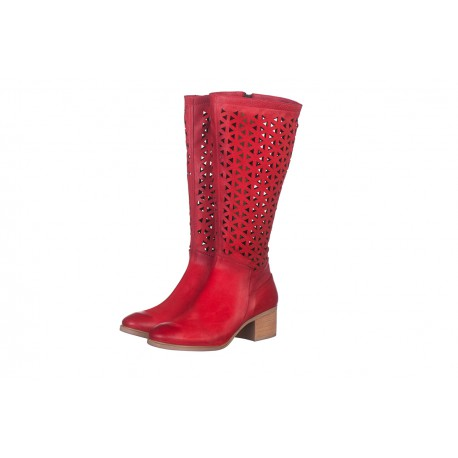 červené kožené laserem vyřezávané jarní kozačky Indigo Shoes 1856