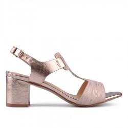zlatavě růžové sandálky na širokém podpatku TENDENZ CRS18-013