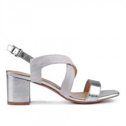 stříbrné sandálky na širokém podpatku TENDENZ CRS18-015