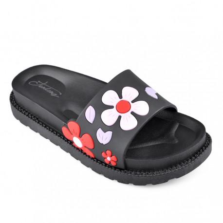 černé pantofle TENDENZ s kytičkami PTS18-015
