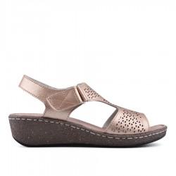 zlatavě růžové kožené sandálky TENDENZ NTS18-076