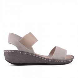 béžové kožené sandálky na klínku TENDENZ NTS18-077