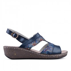 tmavě modré kožené sandálky s barevným vzorem na klínu TENDENZ NTS18-078