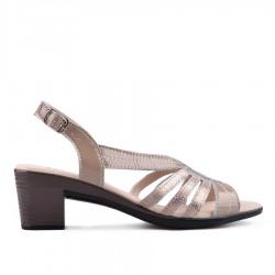 béžové kožené sandálky na širokém podpatku TENDENZ NTS18-079