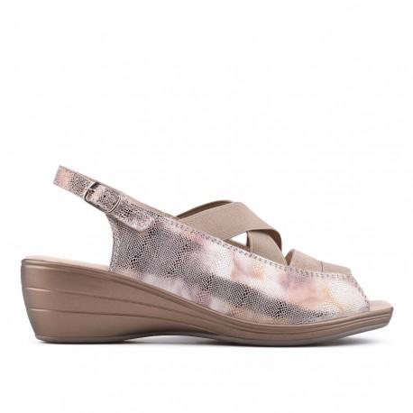 zlaté kožené sandálky s gumičkami TENDENZ NTS18-083