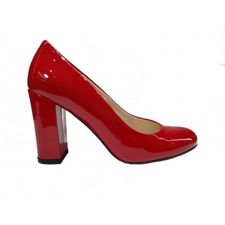 červené kožené lodičky SAGAN 3031